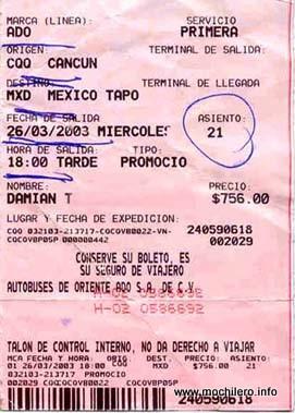 Ticket del autobús de ADO desde Cancún a Ciudad de México