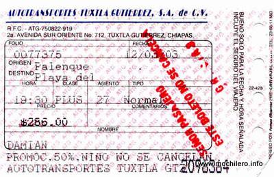 Ticket del autobús de Autotransportes Tuxtla Gutiérrez desde Palenque a Playa del Carmen