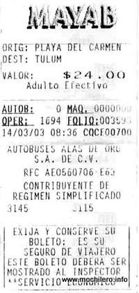 Ticket del autobús de MayaB desde Playa del Carmen a Tulúm