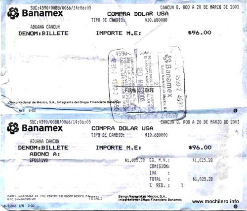 Ticket de compra de pesos mexicanos en Banamex
