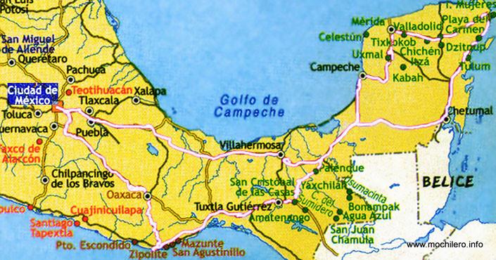 Mapa de la revista Marcopolo con la ruta que realicé