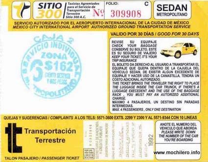 Ticket del taxi