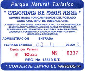 Ticket de entrada a las Cascadas de Agua Azul